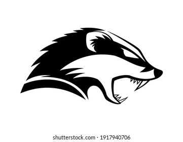 Black icon angry badger on white background.