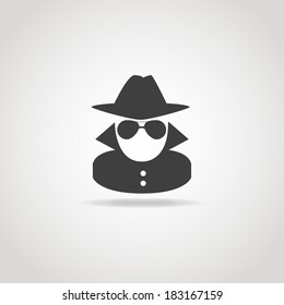 Black icon of anonymous spy agent.