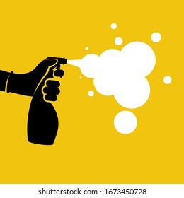 Black icon antiseptic spray with white foam. Pictogram hands in gloves hold bottle. Antibacterial flask kills bacteria. Disinfectant concept. Vector glyph design. Coronavirus precaution.