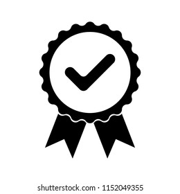 Black icon approved or certified medal. Isolated on white background. Flat design vector illustration.