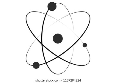 Black icon of an atom.