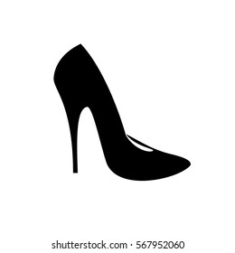black icon of fashionable women's high heel shoes, sign, logo, vector, silhouette of shoe