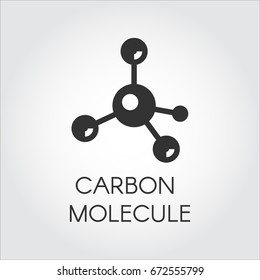 Black icon in flat style of carbon molecules. Organic compound, chemical element. Web logo. Vector graphic label on a gray background