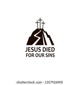 black icon of jesus golgotha hill with crosses isolated on white background