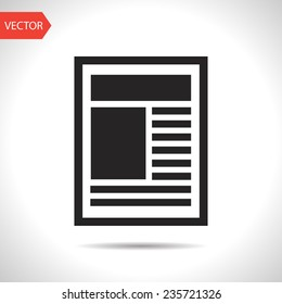 black icon of newspaper