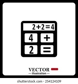 Black icon on white background. icon calculator, vector illustration, EPS 10