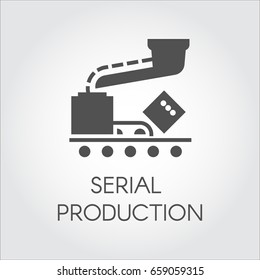Black icon of serial production concept. Modern equipment for factories and plants. Vector illustration in flat design