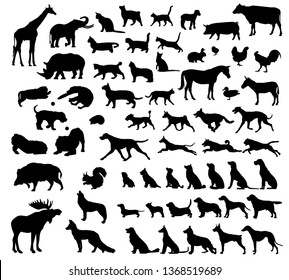 Black icon set dogs.  animal icons in set collection for design. Toy animals bitmap symbol stock web illustration.