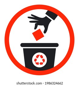 black icon throw garbage into the trash can. flat vector illustration.