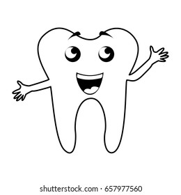 black icon tooth cartoon