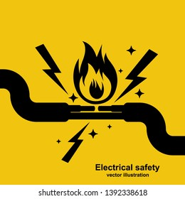 Black icon wire is burning. Fire wiring. Faulty damaged cable. Fire from overload. Electrical safety. Vector illustration flat design. Short circuit electrical circuit. Broken electrical connection.