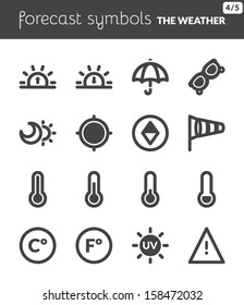 Black icons about the weather. Forecast symbols 2