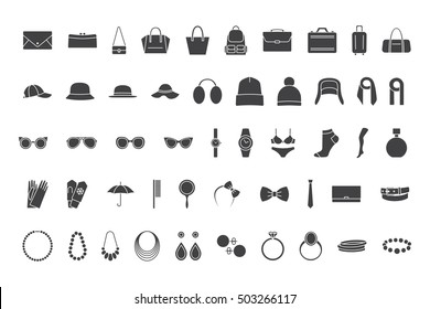 Black icons accessories: bags, hats, jewelry, glasses. Vector