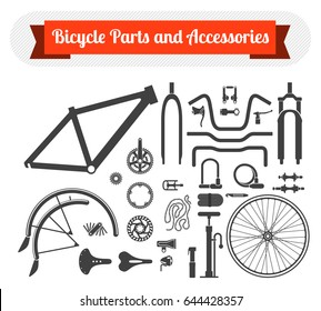 Black icons set of bicycle parts and accessories on white background. Vector isolated illustration
