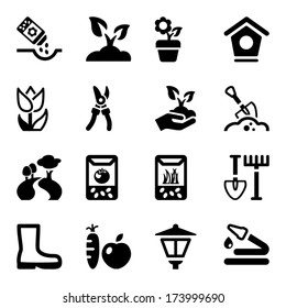 black icons set for gardening & agriculture, isolated