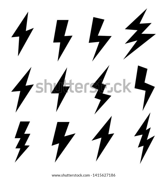 black icons thunder lightning vector signs stock vector royalty free 1415627186 https www shutterstock com image vector black icons thunder lightning vector signs 1415627186