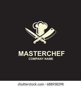 black illustration of crossed knives and chef hat