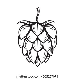 black illustration of hop for brewing
