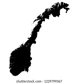 black illustration map of Norway
