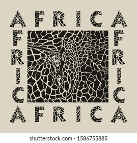 black illustration pattern background giraffe skins, heads and text Africa