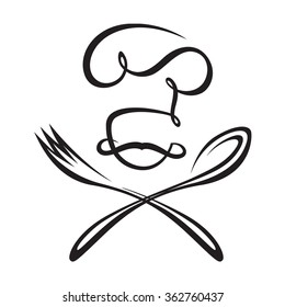 black illustration of spoon, fork and chef