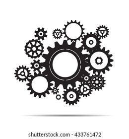 Black illustration of sprockets. Vector Illustration
