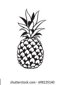 black image of pineapple tropical fruit