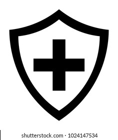 Black Immune System (Cross In A Shield) Icon With Transparent Center