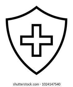 Black Immune System (Cross In A Shield) Line Icon