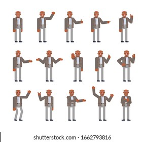 Black or indian old man showing various hand gestures set. Old man pointing, greeting, showing thumb up, victory sign and other gestures. Flat design vector illustration