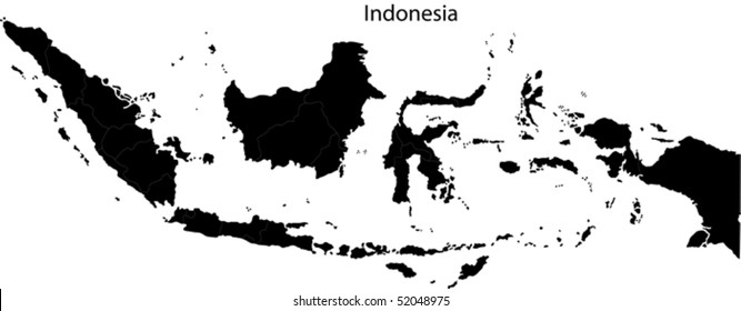 indonesia map images stock photos vectors shutterstock https www shutterstock com image vector black indonesia map separated on provinces 52048975