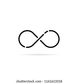 black infinity logo like unlimited icon. flat modern simple loop logotype graphic thin line art design isolated on white. concept of daily routine for ever or life time and infinite of the universe