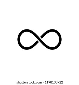Black infinity symbol icon. Concept of infinite, limitless and endless.