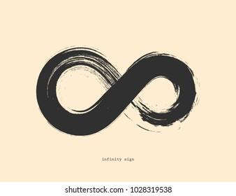 Black infinity symbol on yellow background. Geometric grunge shape.