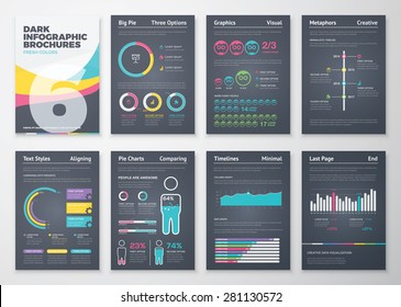 Black infographic business brochure elements in vector format. Big set of modern infographic vector elements for web, print, magazine, flyer, brochure, media, marketing and advertising concepts.