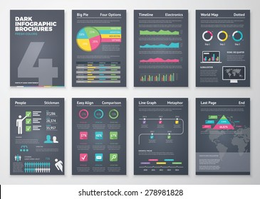 Black infographic templates in brochure style. Big set of modern infographic vector elements for web, print, magazine, flyer, brochure, media, marketing and advertising.