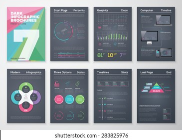 Black infographic templates in business brochure style. Big set of modern infographic vector elements for web, print, magazine, flyer, brochure, media, marketing and advertising.