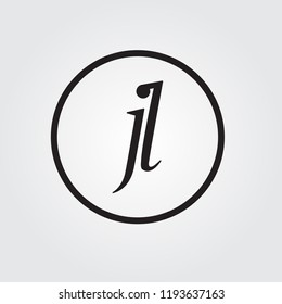 Black initial letter jl linked circle uppercase logo
