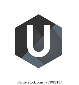 Black Initial U Hexagon Logo Vector