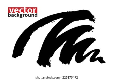 Black Ink abstract zigzag shape , hand-drawn vector illustration