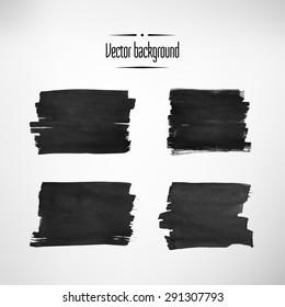 Black ink background. Vector element set.