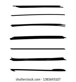 black ink brush stroke line set