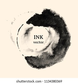 Black ink brush stroke. Vector texture background with ink stains. ink splattered. abstract background