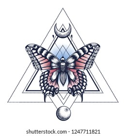 Black Ink. Butterfly, pyramid, half moon and moon. Tattoo Design. Mystical symbol of soul, immortality, rebirth and resurrection