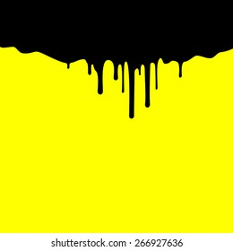 Black ink dripping, paint spill leaking on yellow background. Vector illustration.