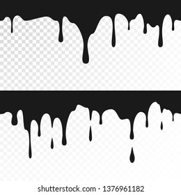 Black ink drips. Seamless Dripping Paint Texture. Vector illustration isolated on white background