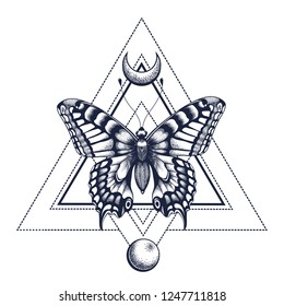 Black Ink. Geometric butterfly with half moon and moon. Tattoo Design. Mystical symbol of soul, immortality, rebirth and resurrection.