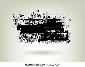 Black ink grunge banner. Abstract background.
