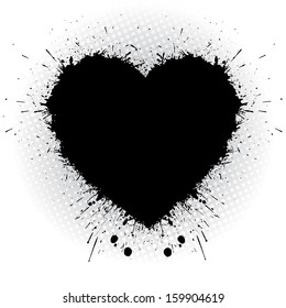 Black ink heart. Abstract vector illustrator.
