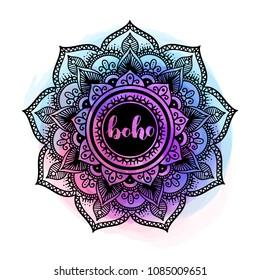 Black ink mandala on watercolor background. Boho style design with colorful aquarelle on white isolated background.